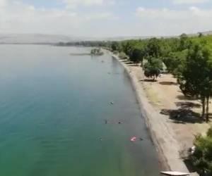 לאחר עליית המפלס: תיעוד מהרחפן: חוף צאלון בכנרת - נפתח