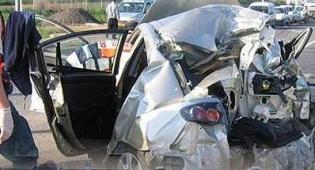 הרכב המרוסק לאחר התאונה - חמש שנות מאסר לדורס החרדיות