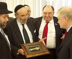 """הרב דונר, הרב גולדשמידט עם יו""""ר הסנאט מר מירונוב"""