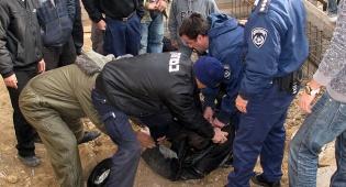 המהומה במירון (צילום: ד.צ.ל, מירון) - במסירות נפש: אברכים עצרו בגופם את החפירות