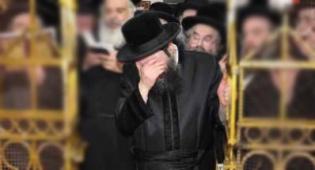 """האדמו""""ר מתפלל, בשבוע שעבר (צילום: שוקי לרר)"""