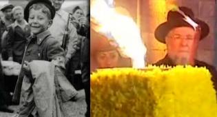 הרב לאו מדליק נר, הערב. מימין: הרב לאו, בילדותו - במלאות 65 שנים להצלתו: הרב לאו הדליק נר זיכרון