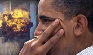 """ברק אובמה, נשיא ארה""""ב על רקע התאומים בוערים"""
