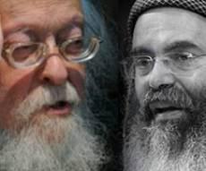 """הגרי""""ש והרב יצחק (צילומים: כיכר השבת) - הגרי""""ש סירב לחתום נגד מופעי זמר"""