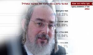 הרב ישראל אייכלר על רקע הסקר. צילום: פלאש 90