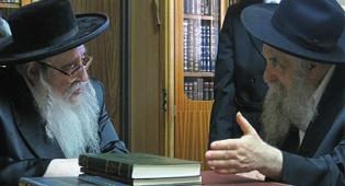"""שני ענקים נפגשים (צילום: כיכר השבת) - צפו בתמונות: חב""""ד נפגשת עם צאנז"""
