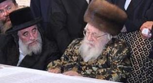 """האדמו""""ר מויז'ניץ ובנו (צילום: כיכר השבת)"""