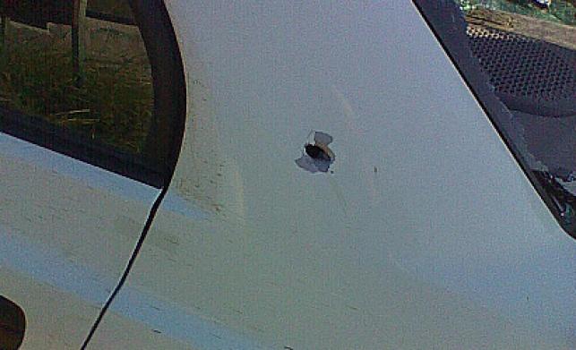 הרכב שעליו נורו היריות (ועד מתיישבי השומרון)