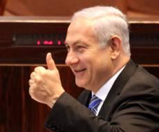 מחייך. בנימין נתניהו (צילום: פלאש 90) - אחרי הנאום: ראש-הממשלה מזנק בסקרים