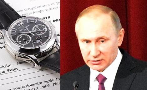 פוטין לצד פאטק פיליפ P5208 - השעון היקר ביותר באוסף של פוטין מוצע למכירה