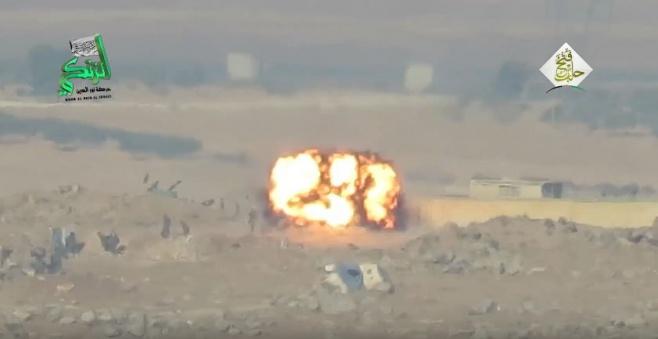 צפו: המורדים יורים טיל על אנשי חיזבאללה