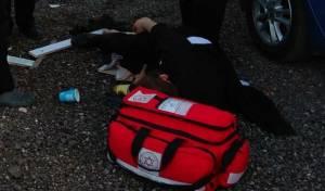 האברך הפצוע מתפתל על הקרקע, לאחר הנשיכה - אברך ננשך על ידי כלב שמירה בגני מודיעין