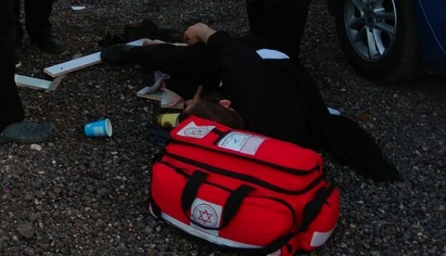 האברך הפצוע מתפתל על הקרקע, לאחר הנשיכה