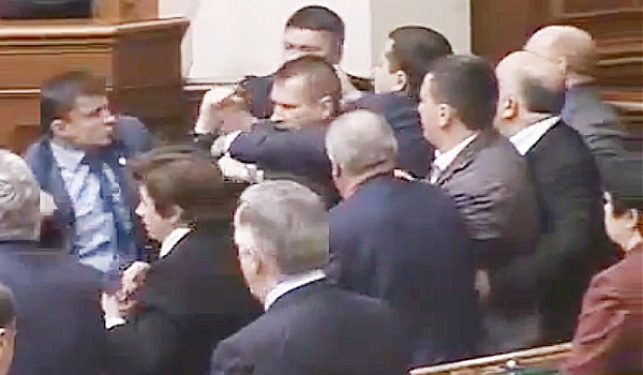 כמו ילדים:  מכות בפרלמנט האוקראיני
