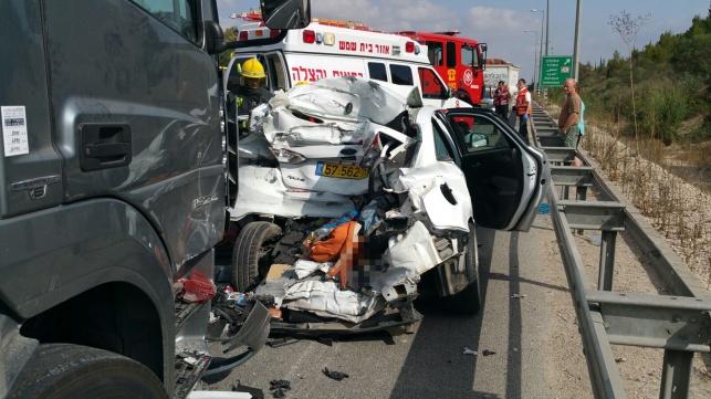 תאונה בכביש 1: הרוג ושלושה פצועים