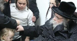 """האדמו""""ר מבעלזא גוזז את שערותיו של אחד הילדים"""