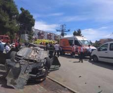 זירת התאונה בצפת - אישה חרדית נפצעה בינוני בתאונה בצפת