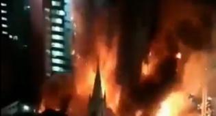 השריפה - והקריסה - מול המצלמות: מגדל עצום קרס בברזיל. צפו