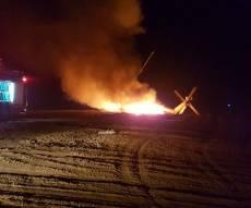 מסוק 'יסעור' נחת נחיתת חירום ועלה באש