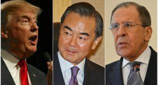 טראמפ ושרי החוץ של סין ורוסיה - רוסיה וסין יפעלו יחד נגד ביטול הסכם הגרעין