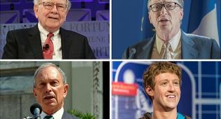 למעלה: גייטס ובאפט; למטה: צוקרברג ובלומברג - 8 מיליארדרים עם הון כמו של חצי עולם