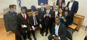נתניהו ובכירי הליכוד בבית המשפט, היום