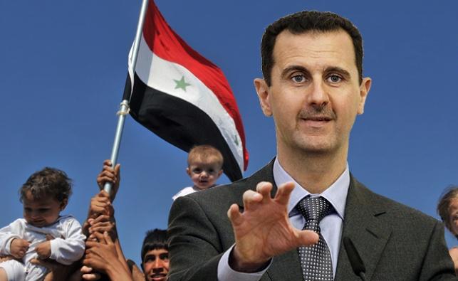 בשאר אסד על רקע דגל סוריה