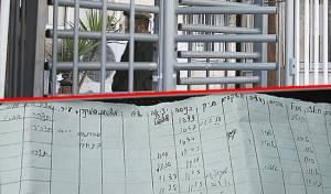 הפתק שמצא גוטליב על רקע הכניסה ללשכת הגיוס בי-ם