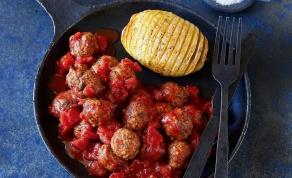 קציצות פטריות וגרגרי חומוס ברוטב עגבניות