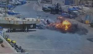 תיעוד: רגע נפילת הטיל במרינה באשקלון