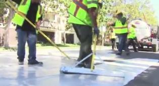 צביעת המדרכות - כך נלחמים בחום: מדרכות LA נצבעו אפור