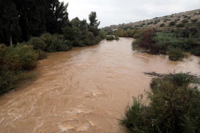 נהר הירדן שוצף ביום שישי