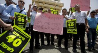 הנהגים בהפגנה בשנה שעברה על תנאי שכרם