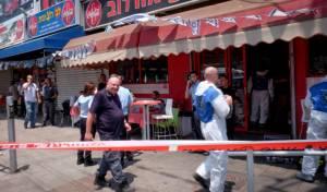 זירת הפיגוע - אישום נגד המחבל שנהדף עם מגש הפיצה