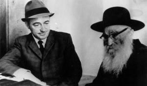"""הרב אריה לוין עם """"אבי הפצועים"""" שמחה הולצברג"""