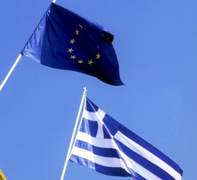 דגלי יוון והאיחוד האירופאי