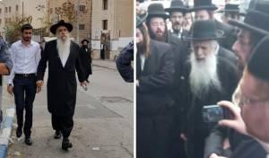 הגאון רבי יצחק ברכה בהגעתו להפגנה