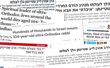 """הכותרות בתקשורת הישראלית והעולמית - """"ידע לאזן"""": כך סוקרה הפטירה ברחבי העולם"""