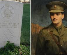 דיוקנו של סימור ואן דר ברג ומצבת קברו בבאר שבע - מדהים: קבר החייל נחשף - סמוך ליארצייט