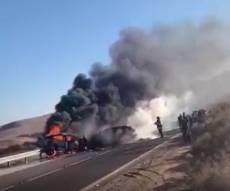 תאונה: הרכב עלה באש ושני הנוסעים נהרגו