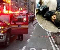 זירת האירוע והמחבל הפצוע - מטען חבלה התפוצץ על מחבל בלב מנהטן