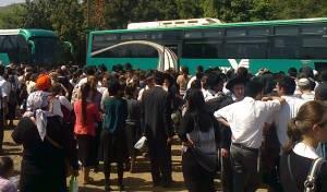 המונים מסביב לאוטובוסים במירון, היום