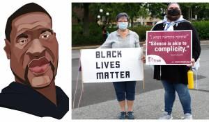 יהודים רפורמים מפגינים נגד הרצח; משמאל: ג'ורג' פלויד