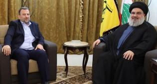 פגישת נסראללה ואל עארורי - בכיר חמאס ומנהיג חיזבאללה נפגשו בביירות