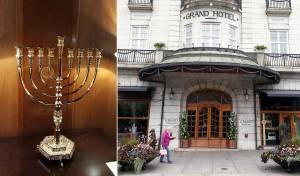 חנוכיה הוצבה במלון המפורסם באוסלו. צפו