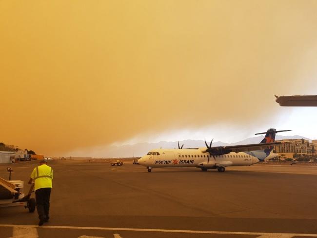 סופות החול באילת - סופת חול גרמה לסגירת שדה התעופה באילת. צפו