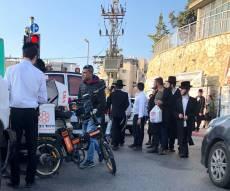 זירת התאונה - הולך רגל נפצע מפגיעת אוטובוס בירושלים