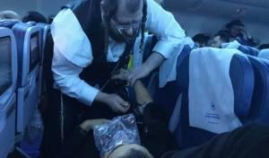 המתנדב מגיש עזרה ראשונה בטיסה