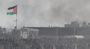 מפגיני חמאס בעזה ליד הגדר