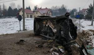 המכונית לאחר התאונה